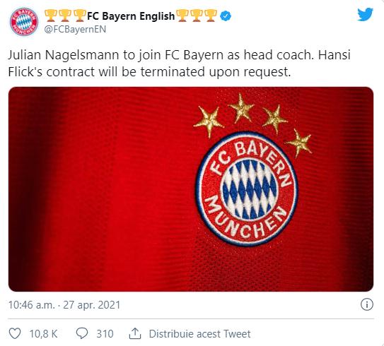 Julian Nagelsman este noul antrenor al lui Bayern Munchen