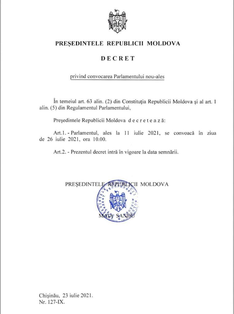 ULTIMA ORĂ// Maia Sandu a semnat decretul privind convocarea Parlamentului nou-ales. Când are loc ședința