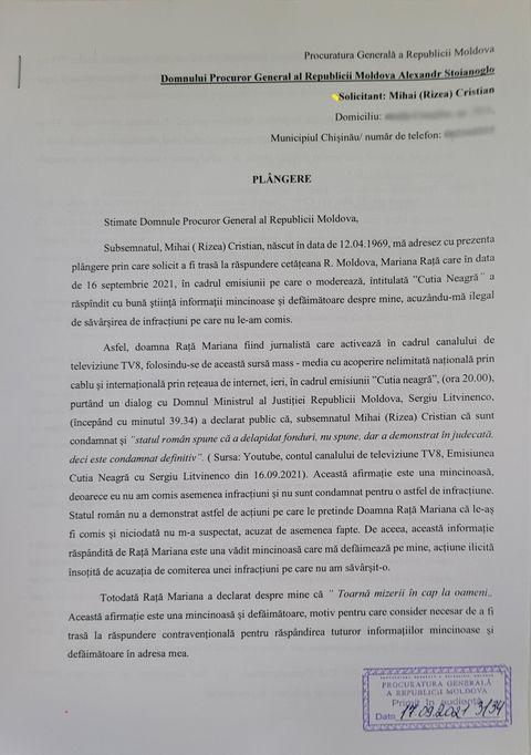 EXCLUSIV DOC// Mihai Cristian Rizea a depus o plângere pe Mariana Rață la Procuratura Generală