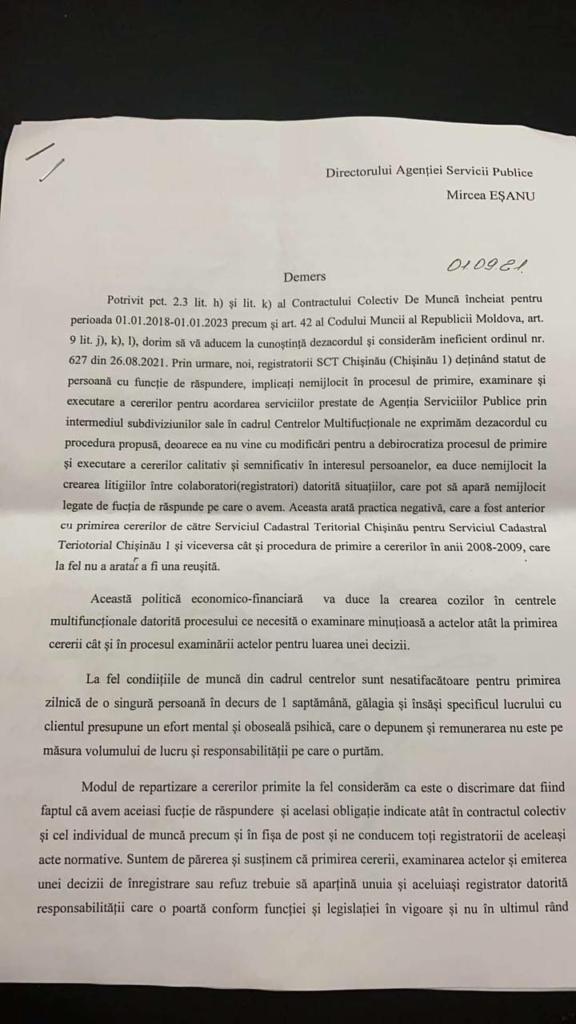 DOC//Angajații Agenției Servicii Publice, nemulțumiți de noul director al instituției, Mircea Eșanu