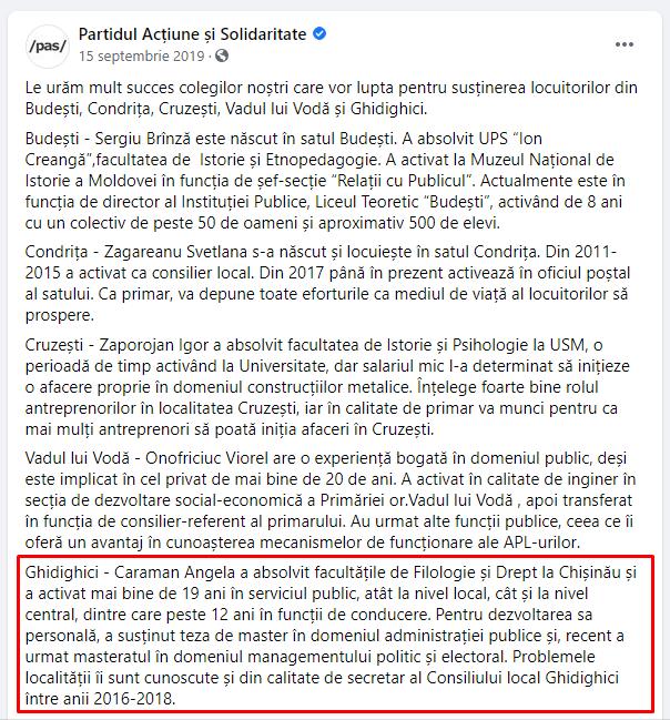 Pericol pentru democrație! Angela Caraman, președintele CEC, are carnetul de partid al PAS în buzunar?